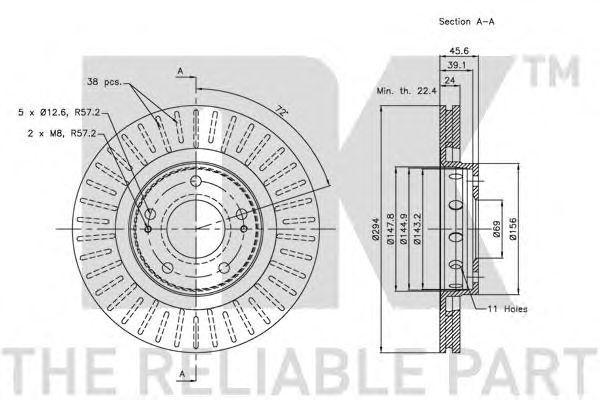 Диск тормозной передний (293x24mm)  citroen c-crosser, mitsubishi outlander,peugeot 4007 06-