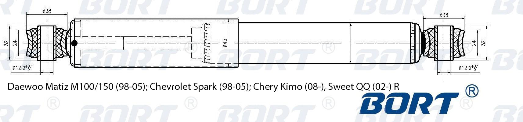 Амортизатор подвески зад газ daewoo matiz m100150 98-05 chevrolet spark 98-05 chery kimo