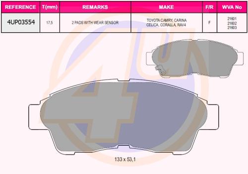 Колодки пер toy carinae 93-97, camry 2.2 92-96, corolla 95-02 (с 2 датчиками)