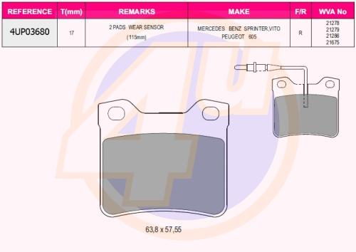 Колодки зад pgt 406 2.0, 2.2, 1.9td, 2.0hd, 2.1td, 607all 95- (с 2 датчиками)