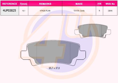 Колодки зад toy corolla 1.4d, 1.6vvt-i, 1.8vvtl-i 02-