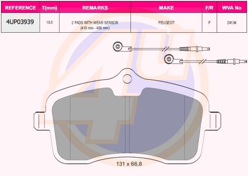 Колодки пер pgt 407 1.8, 2.0 16v, 1.6 hdi, 2.0 hdi 04- (с 2 датчиками)