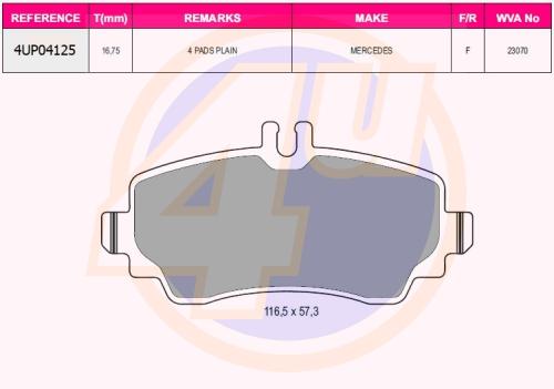 Колодки пер mer w168 a-class 1.4-2.1 97-